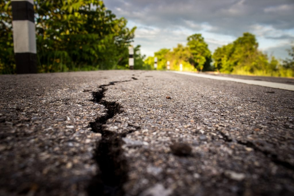 Roads cracked following an earthquake