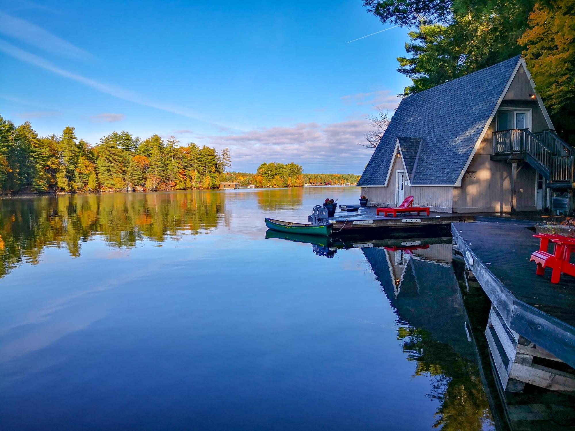 Taylor Island of Lake Muskoka in Autumn at Gravenhurst, Ontario, Canada