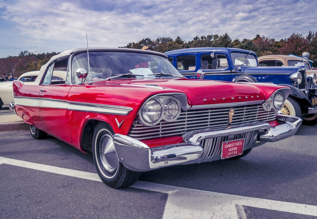 1957 Plymouth convertible with roof top up