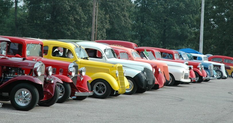 Classic Street Rod Automobile Lineup at Frog Follies Car Show