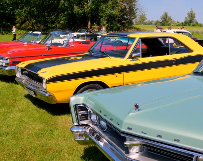 American vintage cars in a row.